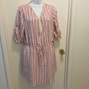 J FOR JUSTIFY | Red & White Striped Dress L NWT